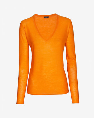 Joseph V Neck Cashmere Pullover: Orange