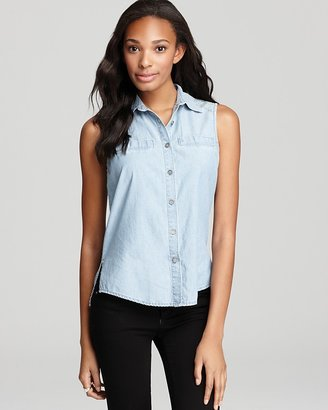 Paige Top - Studded Ryder Chambray