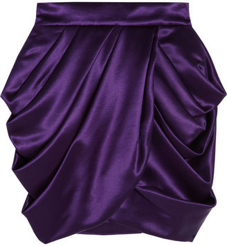 Balmain Draped wool and silk-blend satin mini skirt