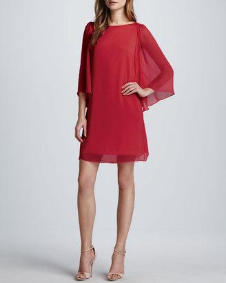 Alice + Olivia Odette Flutter-Sleeve Dress, Cherry