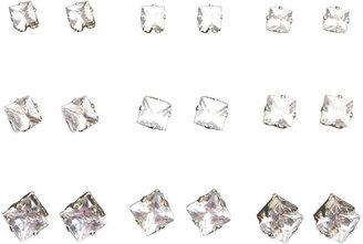 Wet Seal Square Rhinestone Stud Earring 9-Pack
