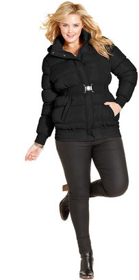 Dollhouse Plus Size Jacket, Removable Hood Belted Puffer