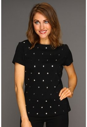 MICHAEL Michael Kors Ponte S/S Crew Stud Top (Black) - Apparel