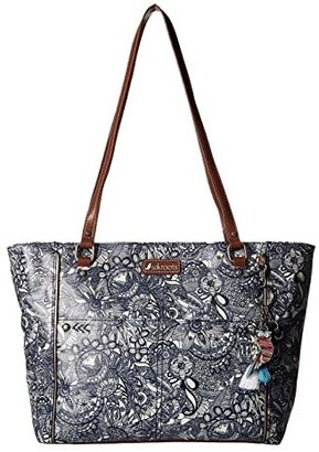 Sakroots Artist Circle Medium Satchel (Navy Spirit Desert) Tote Handbags
