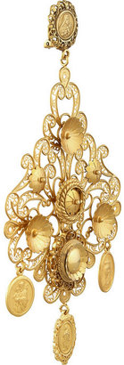 Dolce & Gabbana Filigrana gold-plated chandelier clip earrings