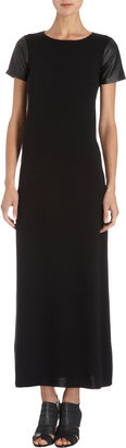 Barneys New York Leather Sleeve Long Dress