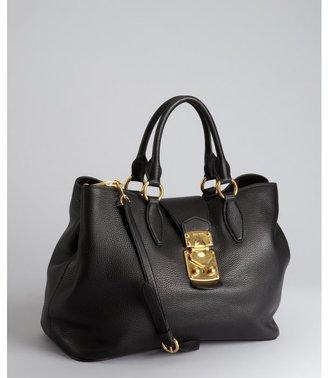 Miu Miu Miu black pebbled leather convertible satchel