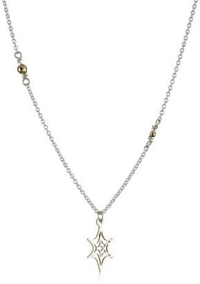 "Jane Hollinger Nouveau Geo"" Sterling Silver Six Point Star Necklace"