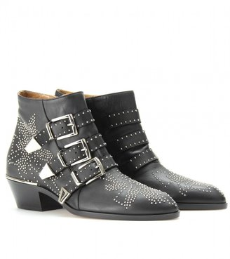 Chloé SUSANNA STUDDED LEATHER BUCKLE ANKLE BOOTS