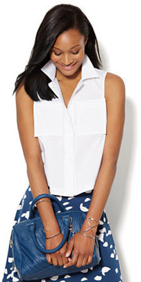 New York & Co. Button-Front Cropped Shirt