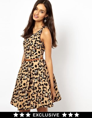 Glamorous Belted Skater Dress in Leopard - Multi