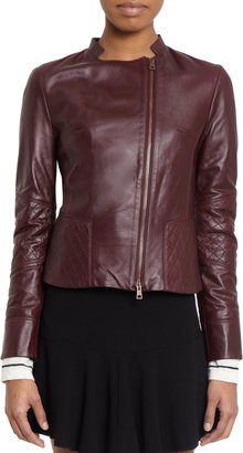 Barneys New York Quilt-Detail Leather Jacket