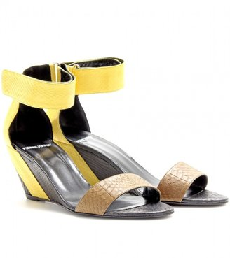 Pierre Hardy SNAKESKIN WEDGE SANDALS