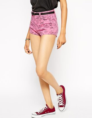 Neon Blonde Floral Print Vamp Shorts