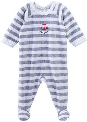 Petit Bateau Baby Boy Striped Velour Crawler