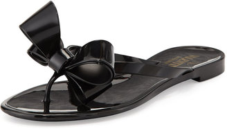 Valentino Couture Bow Jelly Flat Thong Sandal, Black