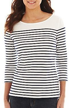 Liz Claiborne 3/4-Sleeve Button-Back Striped Tee - Tall
