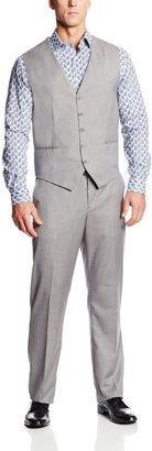 Perry Ellis Men's Tall Linen Five Button Texture Vest