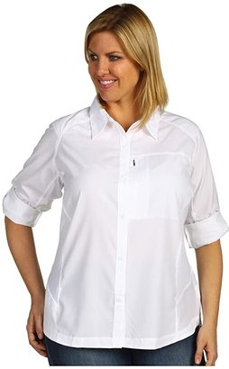Columbia Plus Size Silver Ridgetm L/S Shirt (White) Women's Long Sleeve Button Up