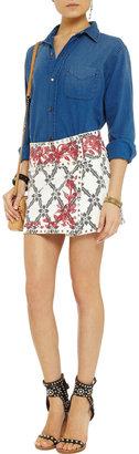 Isabel Marant Gelicia embroidered denim mini skirt