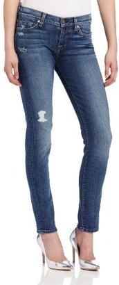 7 For All Mankind Women's Slim Cigarette Jean in Light Blue Distressed