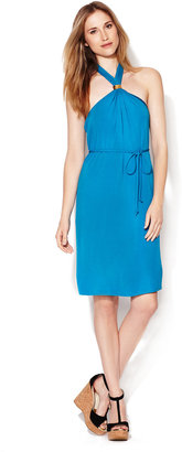 Trina Turk Silt Cross-Over Jersey Halter Dress