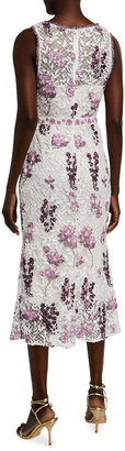 Marchesa Notte Sleeveless Multicolor Embroidered Guipure Lace Dress