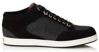 Jimmy Choo Miami Black Fine Glitter and Suede Sneakers