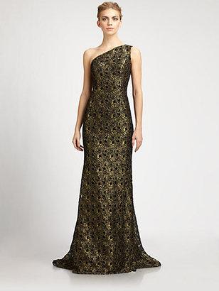 Carmen Marc Valvo Metallic Lace Gown