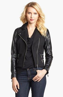 MICHAEL Michael Kors Knit & Faux Leather Moto Jacket (Petite)