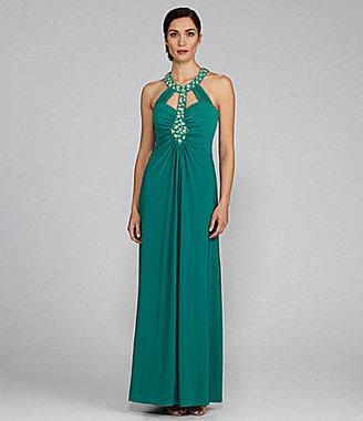 J.R. Nites Jeweled-Collar Gown