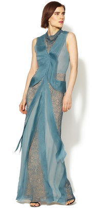 Vera Wang Embroidered Silk Tiered Organza Gown