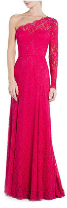 BCBGMAXAZRIA Betsy One-Shoulder Lace Gown
