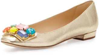 Kate Spade Nadja Jewel-Detail Buckle Flat, Platino