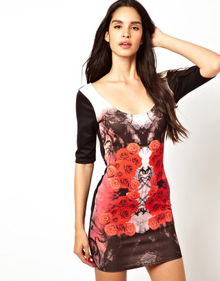 Rare Rose Print Bodycon Dress