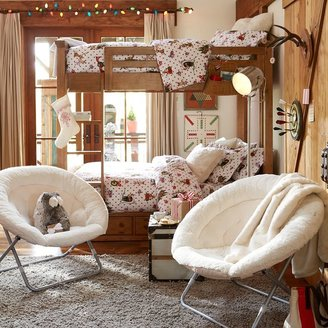 PBteen Ivory Sherpa Faux Fur Hang-A-Round Chair