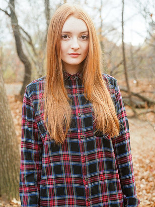 American Apparel Unisex Tartan Plaid Flannel Long Sleeve Button-Up with Pocket