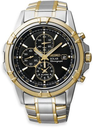 Seiko Men's Solar Black Dial Two-Tone Dress Sport Stainless Steel Watch