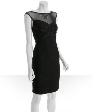 Carmen Marc Valvo black stretch knit mesh detail dress