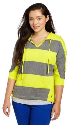 Southpole Juniors Plus-Size Hooded High Low Pullover Stripe Shirt