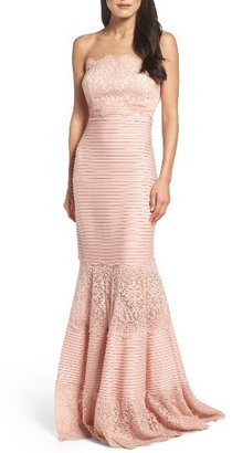 Women's Tadashi Shoji Strapless Lace Inset Pintuck Jersey Gown $428 thestylecure.com
