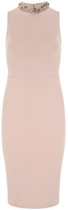 Dorothy Perkins Blush embellished neck neoprene dress
