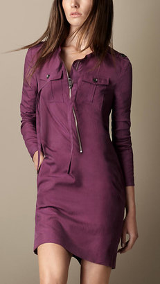 Burberry Washed Silk Blend Military Dress