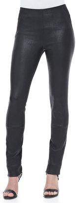 Donna Karan Leather-Front Skinny Pants