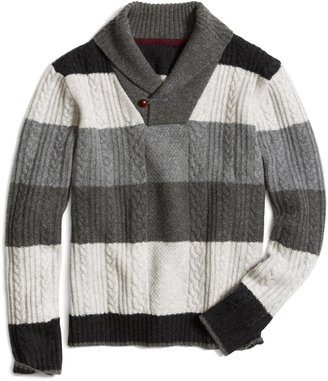 Brooks Brothers Lambswool Striped Cable Knit Shawl Collar Sweater