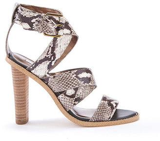 Cynthia Vincent Alisa Embroidered Snake Leather Strappy Heel