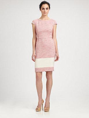 Kay Unger Colorblock Tweed Dress