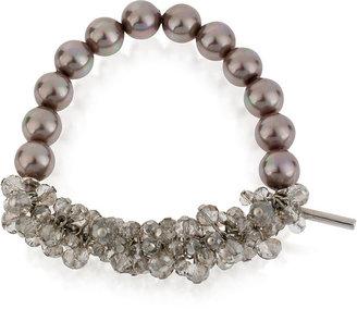 Kenneth Cole New York Bracelet, Silver-Tone Taupe Glass Pearl Bead Half Stretch Bracelet