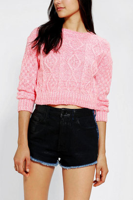Urban Outfitters Glamorous Cropped Cable-Knit Sweater