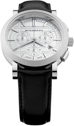 Burberry Watch, Men's Swiss Chronograph Black Leather Strap 40mm BU1361
